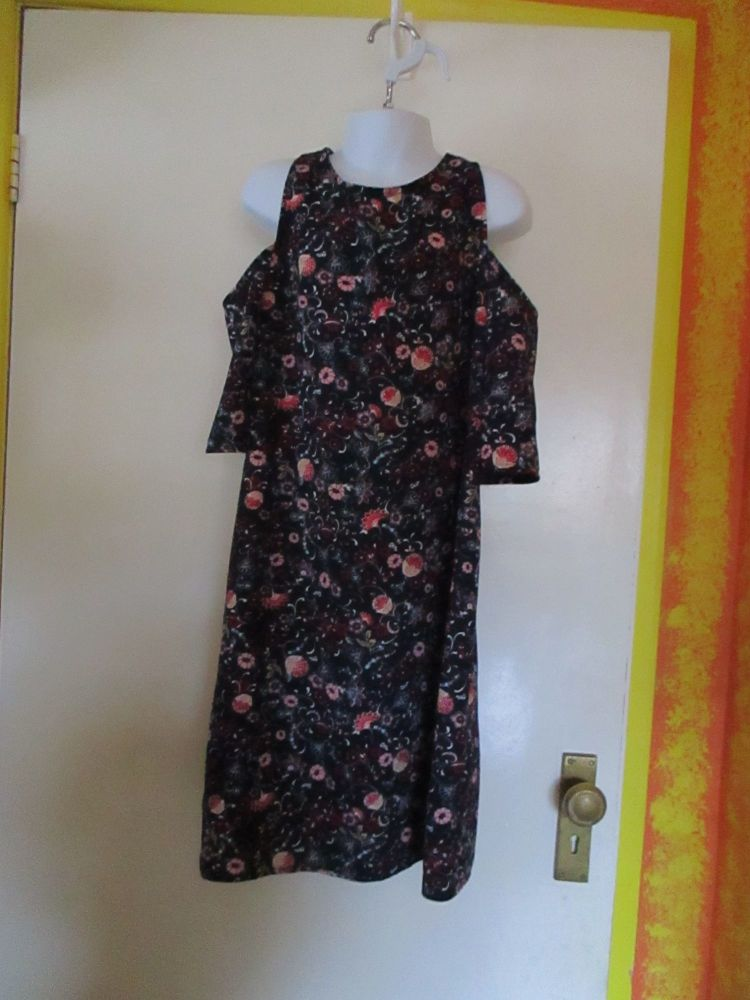 Navy Blue Red Pink Floral Tunic Dress - Unbranded - 11yrs