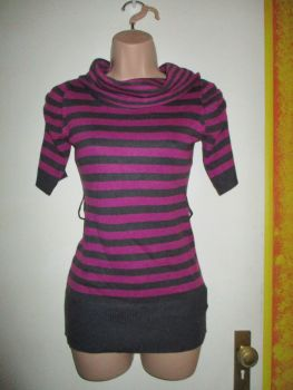 Pink Black Stripe Long Neck Tunic Top - 12-13yr Hooch