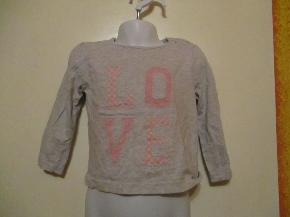 Grey W/Pink White Lace Love Top - Size 24-36 Months - Young Dimensions