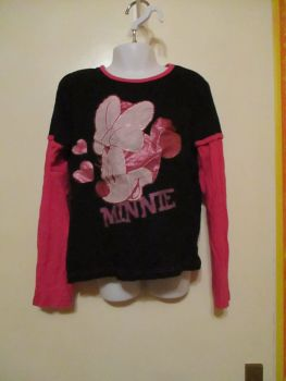 Black & Pink Two In One Tshirt Long Sleeve Top 9-10yrs - Disney Minnie Mouse