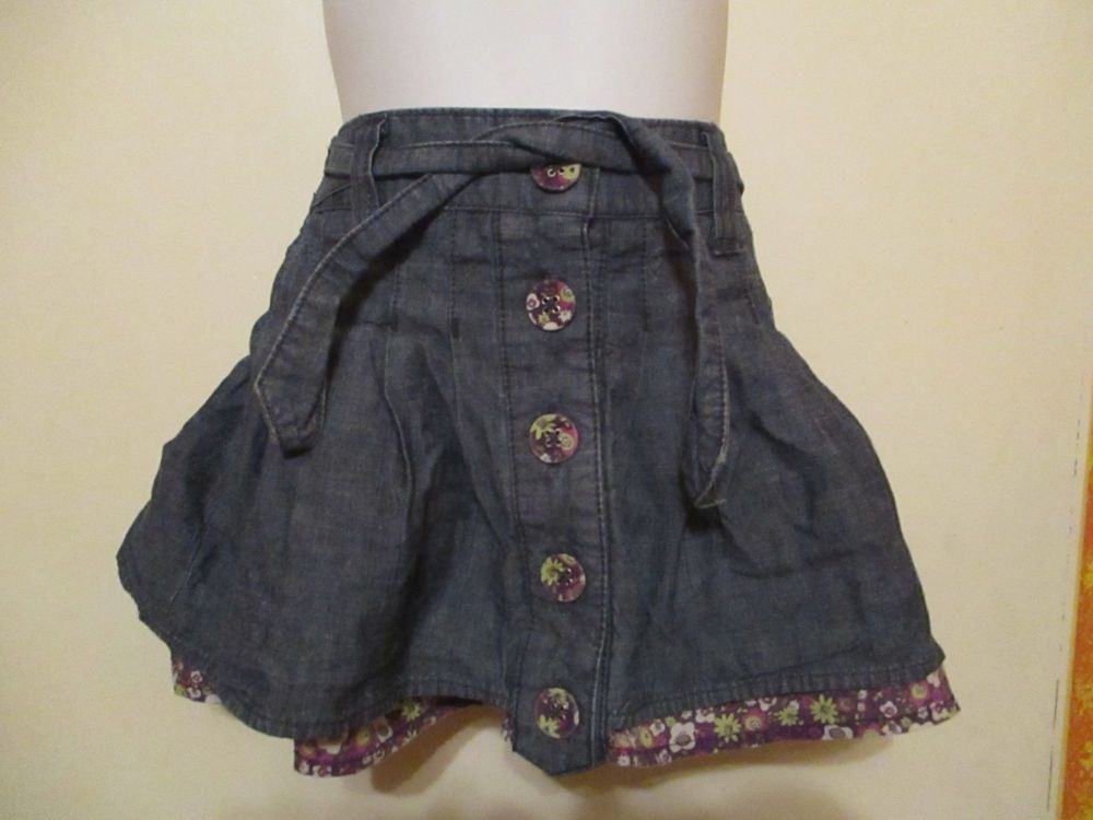 Denim Layer Skirt & Floral Underskirt - 18-24 Months - Cherokee