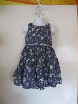 Navy Blue & White Floral Design Dress - 3-4yrs - Florence & Fred