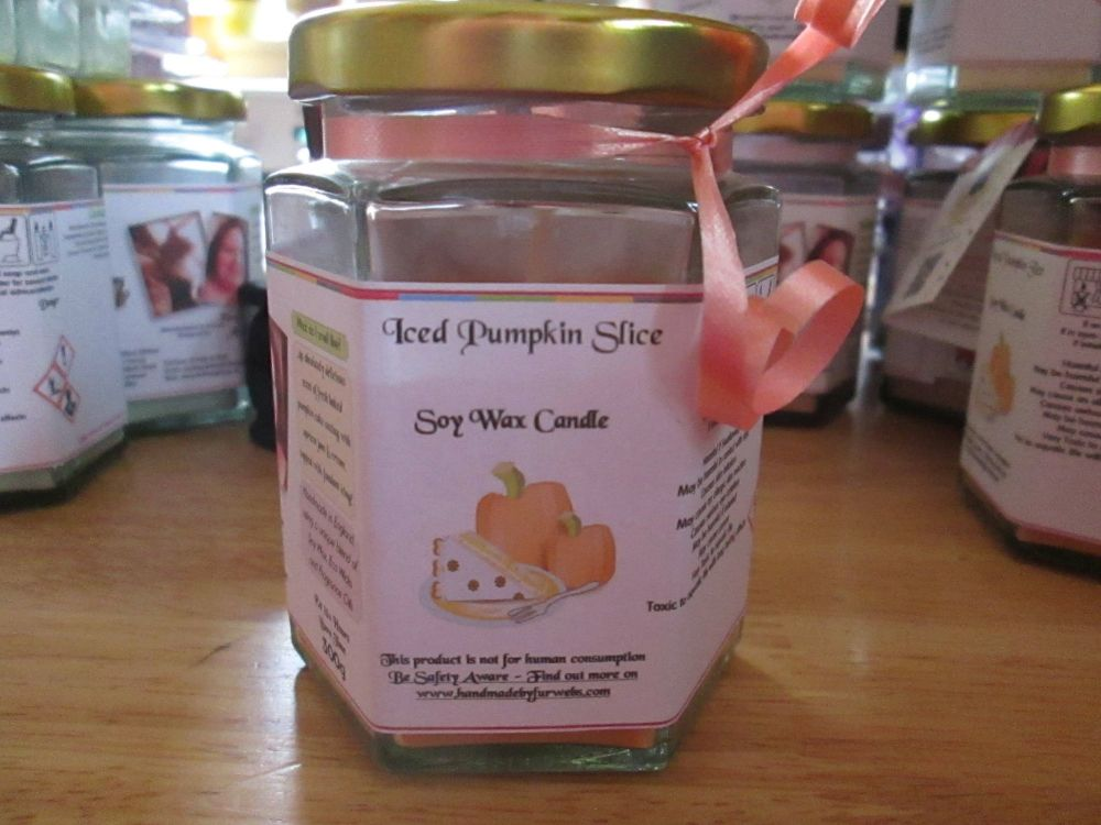 Iced Pumpkin Slice Scented Soy Wax Candle 300g