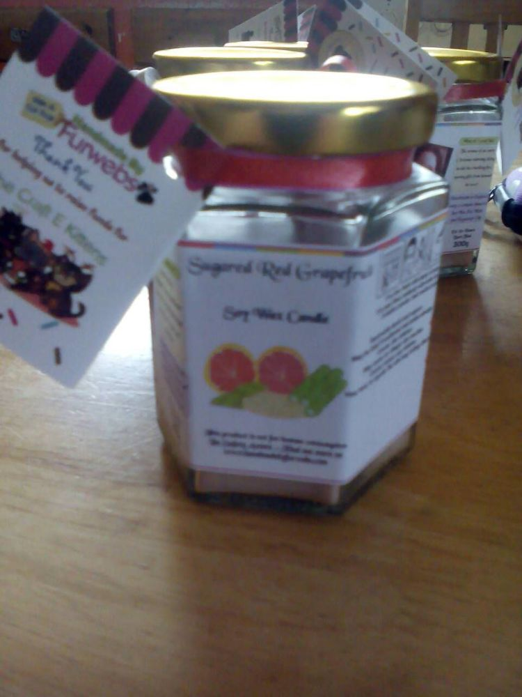 Sugared Red Grapefruit Scented Soy Wax Candle 300g