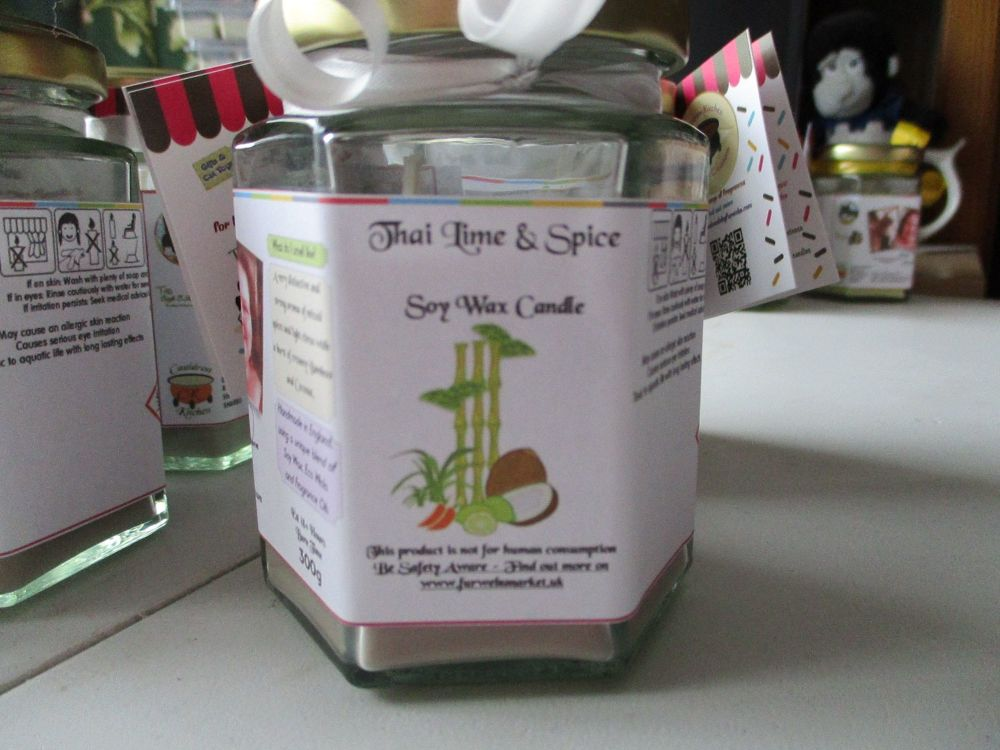 Thai Lime & Spice Scented Soy Wax Candle 300g