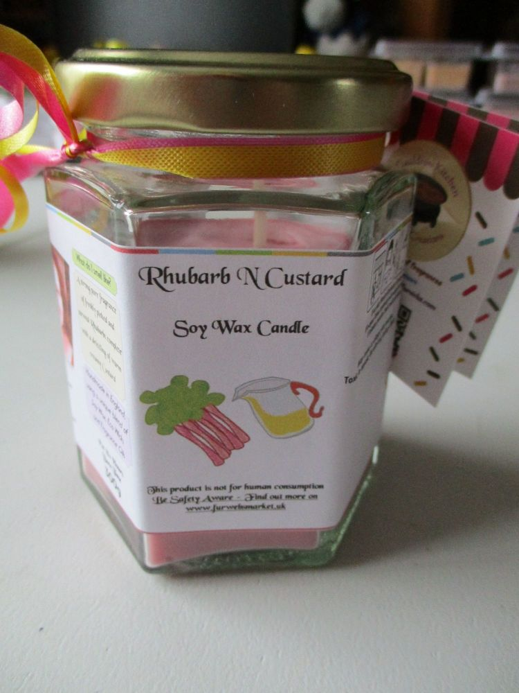 Rhubarb & Custard Scented Soy Wax Candle 300g