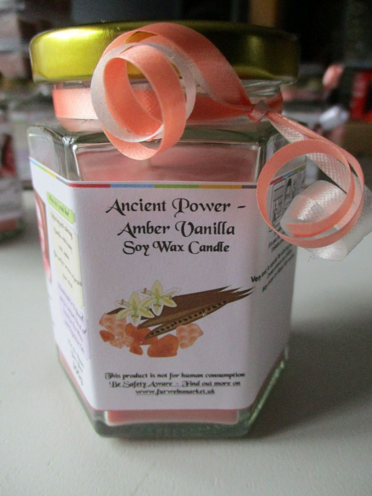 Ancient Power - Amber Vanilla Scented Soy Wax Candle 300g