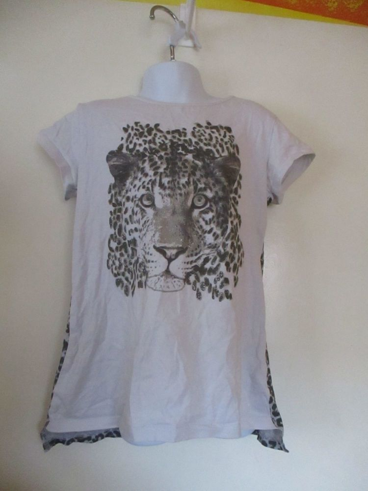 Leopard Spots & White Leopard Picture Top - Size 10yrs - Made With Love