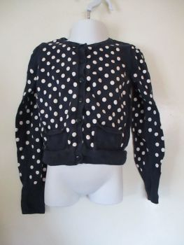 Navy Blue & White Spots Design Cardigan - Size 2/4yr US - H&M