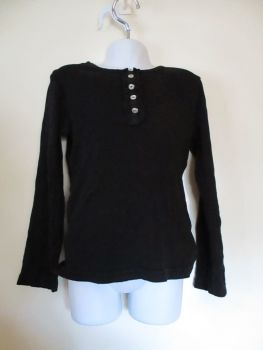 Black Long Sleeve Top With Shiny Buttons - Size 7/8yrs - George