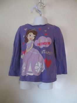 Disney 2/3yr Hello Princess Too Cute Long Sleeve Top