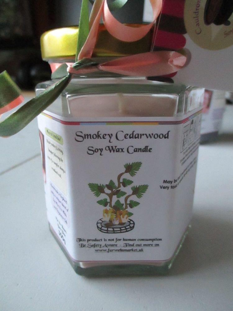 Smokey Cedarwood Scented Soy Wax Candle 300g