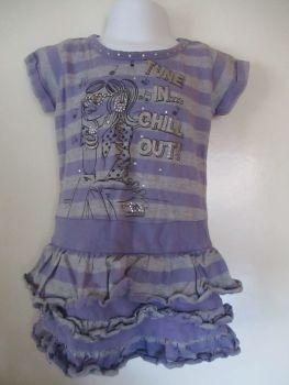 "Matalan 3yrs Purple / Grey Tunic - Gem & Glitter Front Design ""Tune In Chill Out"""