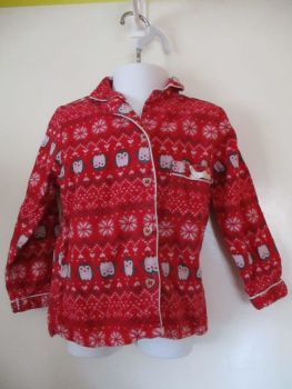 Young Dimensions 3-4yrs Red W/ Penguin Pattern Pyjama Top