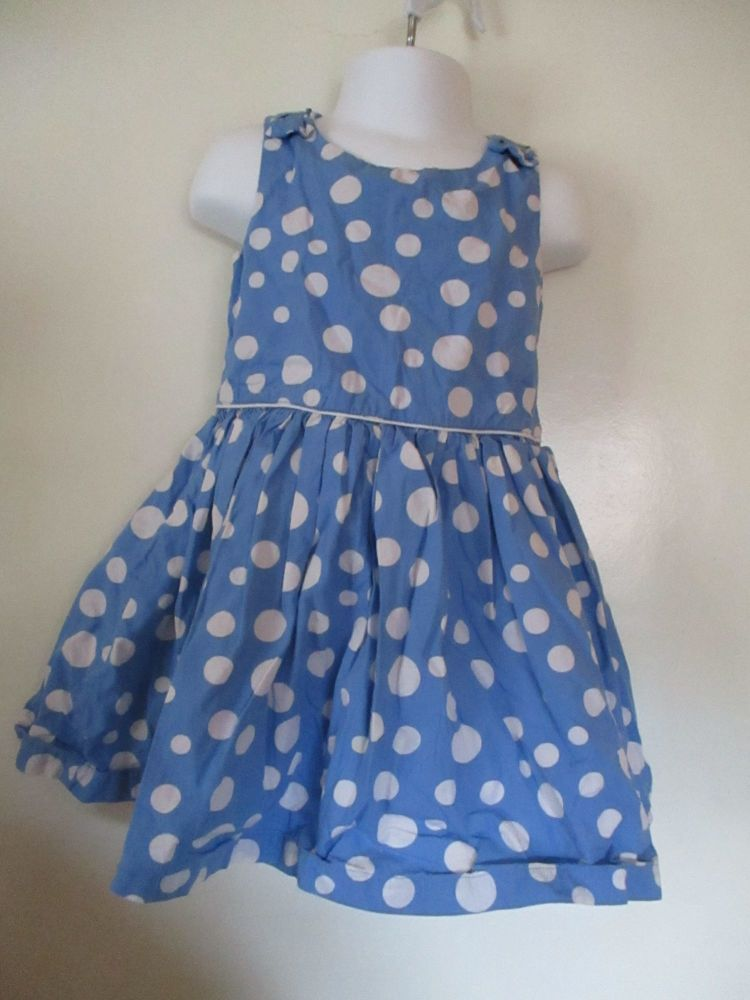 Florence & Fred 2-3yrs Mid Blue W/ White Spots Dress