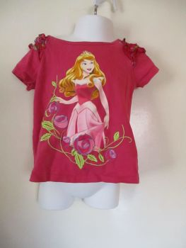 Disney Size Unknown Pink Top W/ Sleeping Beauty Design.