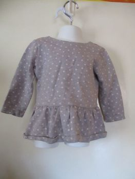 Young Dimensions 24-36mths Grey Tunic Top Dress W/ White Spots