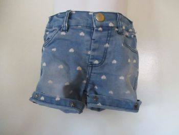 Young Dimensions 18-24mths Blue Denim Shorts W/ White Heart Design