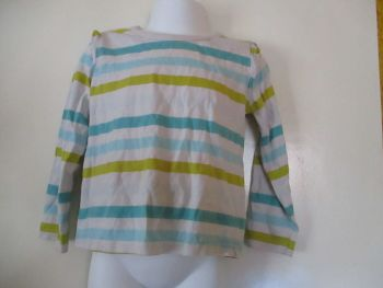 George 2-3yr White W/ Gradient Green & Blue Stripes Top