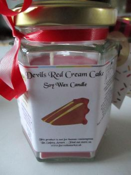 Devils Red Cream Cake Scented Soy Wax Candle 300g