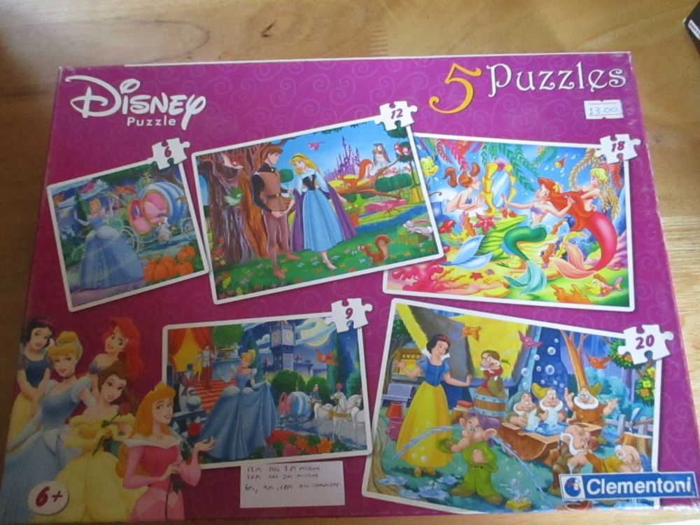 Disney Puzzle: 5 Puzzles by Clementoni - 3 Complete, 2 Incomplete