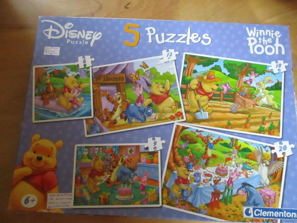Disney Puzzle: Winnie The Pooh 5 Puzzles by Clementoni - 3 Complete, 2 Inco