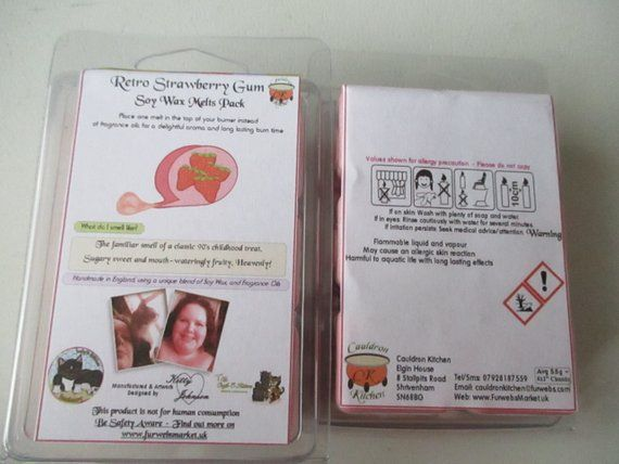 Retro Strawberry Gum Scented Soy Wax Melts Pack