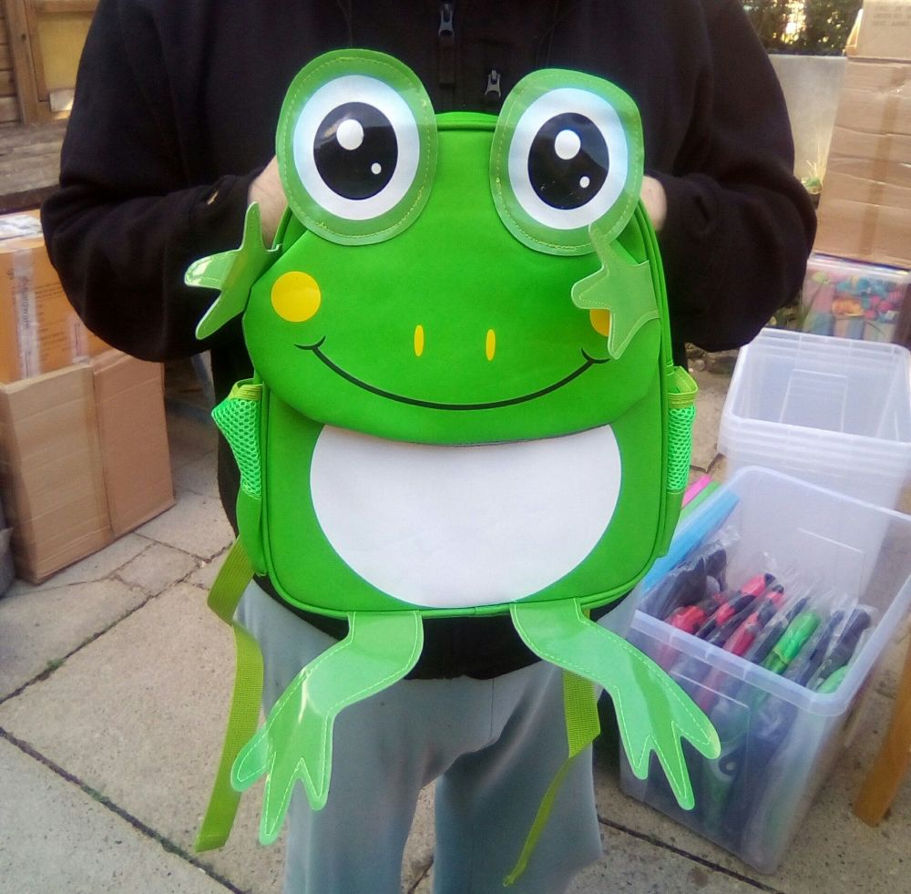 Frog - Animal Design Backpack - 10kg Max Hold. 2 Compartments. 2 Side Pocke