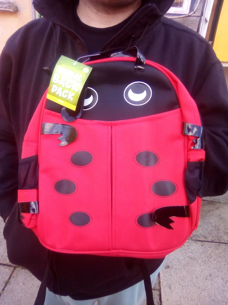 Ladybug / Ladybird - Animal Design Backpack - 10kg Max Hold. 2 Compartments. 2 Side Pockets.