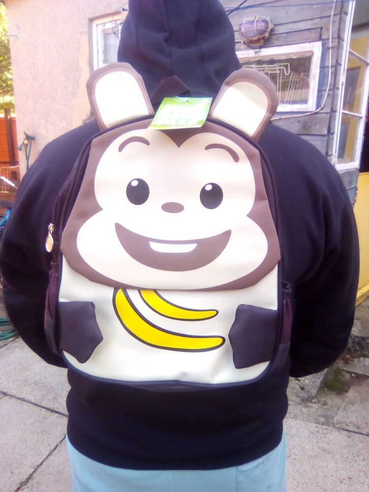 Monkey - Animal Design Backpack - 10kg Max Hold. 2 Compartments. 2 Side Pockets.