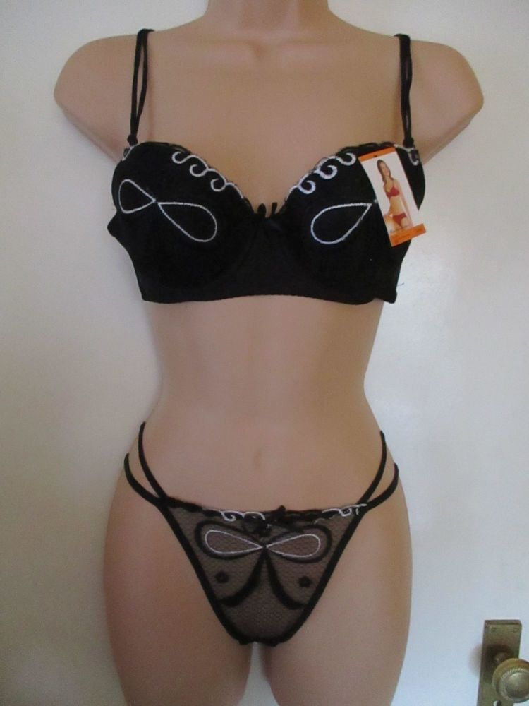 36B Black Padded Waves Lace Ribbon Double Strap Detail Bra & Thong Set - Xue Wan Mei