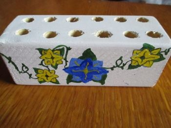 Blue & Yellow Flowers Green Vines 12 Hole White Stationery Block Kitty & The Pig