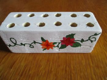 Red Orange Flowers Green Vines 12 Hole White Stationery Block (Type 2)