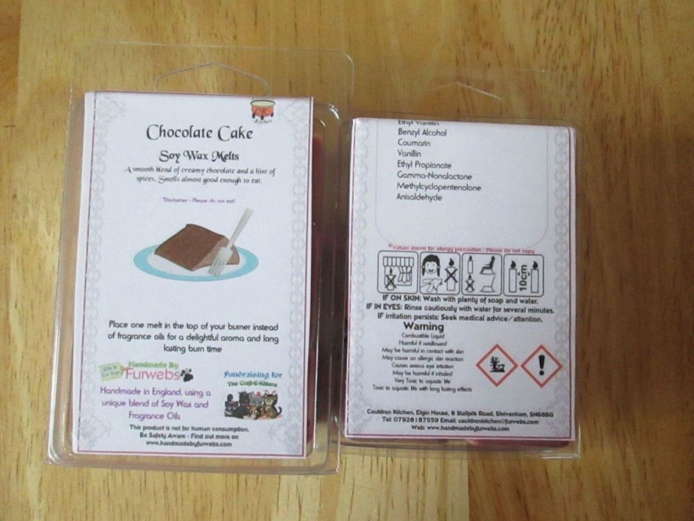 Chocolate Cake Scented Soy Wax Melts Pack