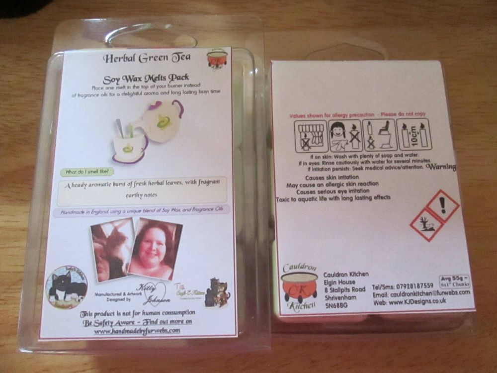 Herbal Green Tea Scented Soy Wax Melts Pack