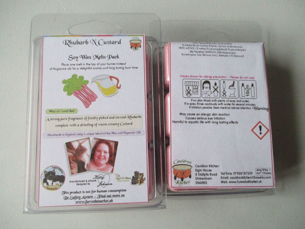 Rhubarb N Custard Scented Soy Wax Melts Pack
