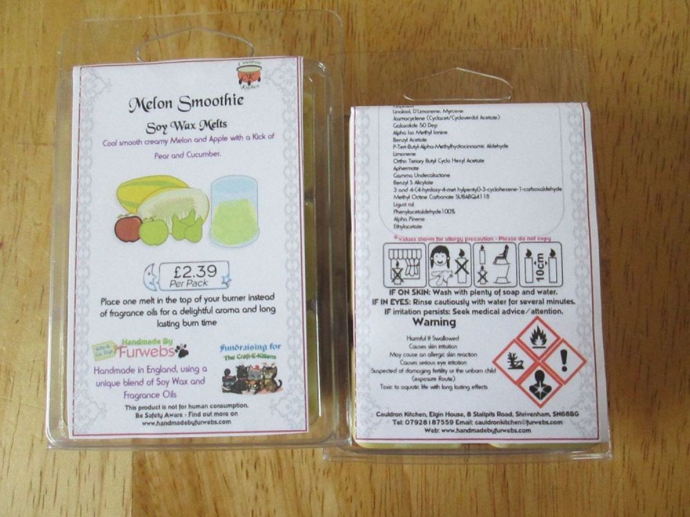 Melon Smoothie Scented Soy Wax Melts Pack