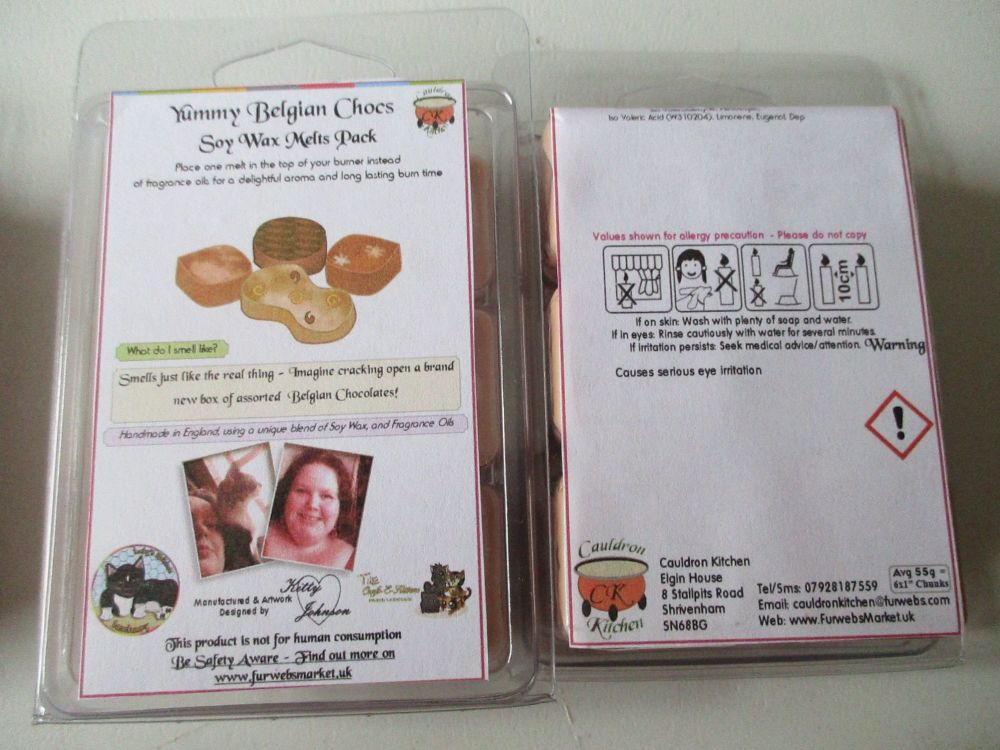 Yummy Belgian Chocs Scented Soy Wax Melts Pack