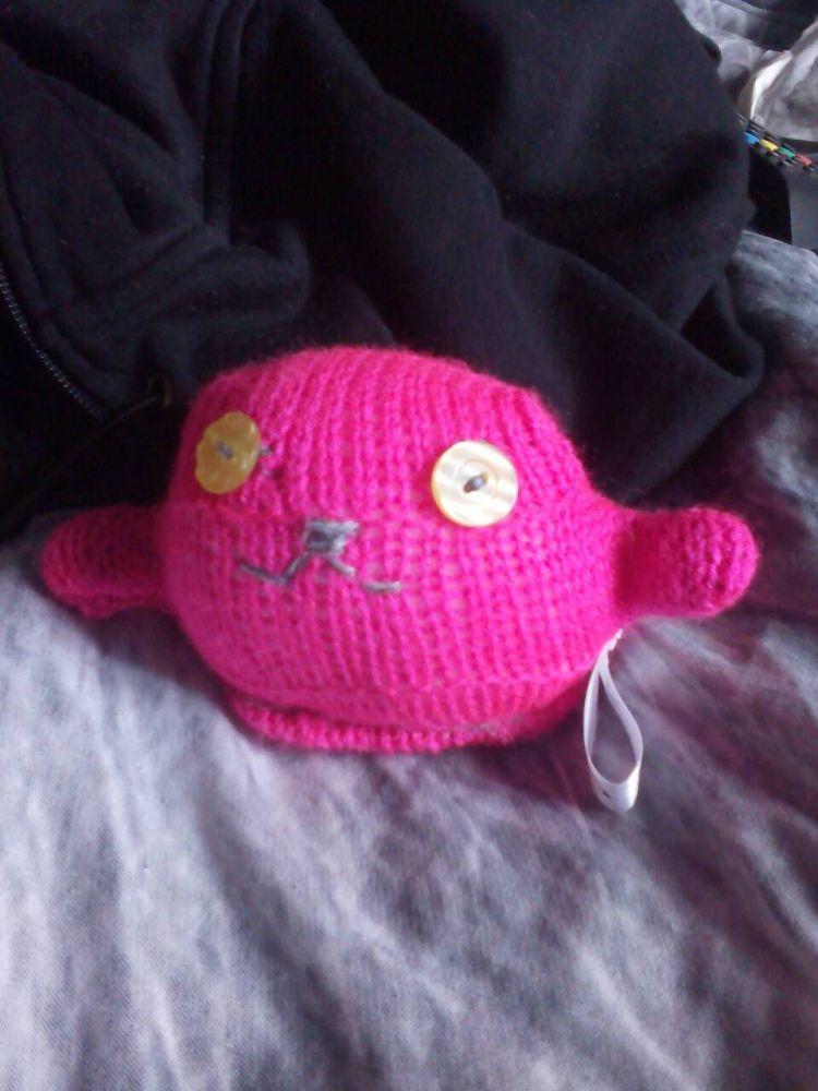 Warm Pink with Shiny Lemon Eyes Mini Ted