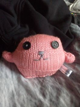 Salmon Pink with Black Eyes Mini Ted