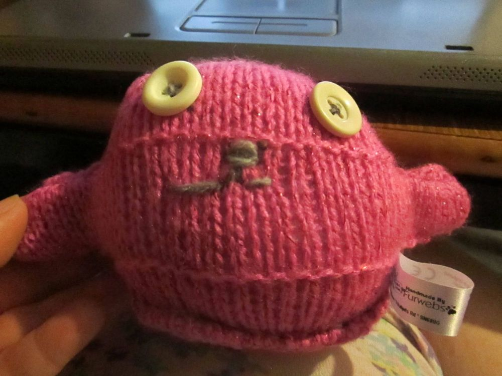 Glittery Pink Body with Lemon Eyes Mini Ted