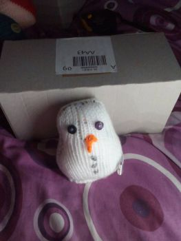 White with Blue/Purple Eyes Mini Snowman Knitted Soft Toy