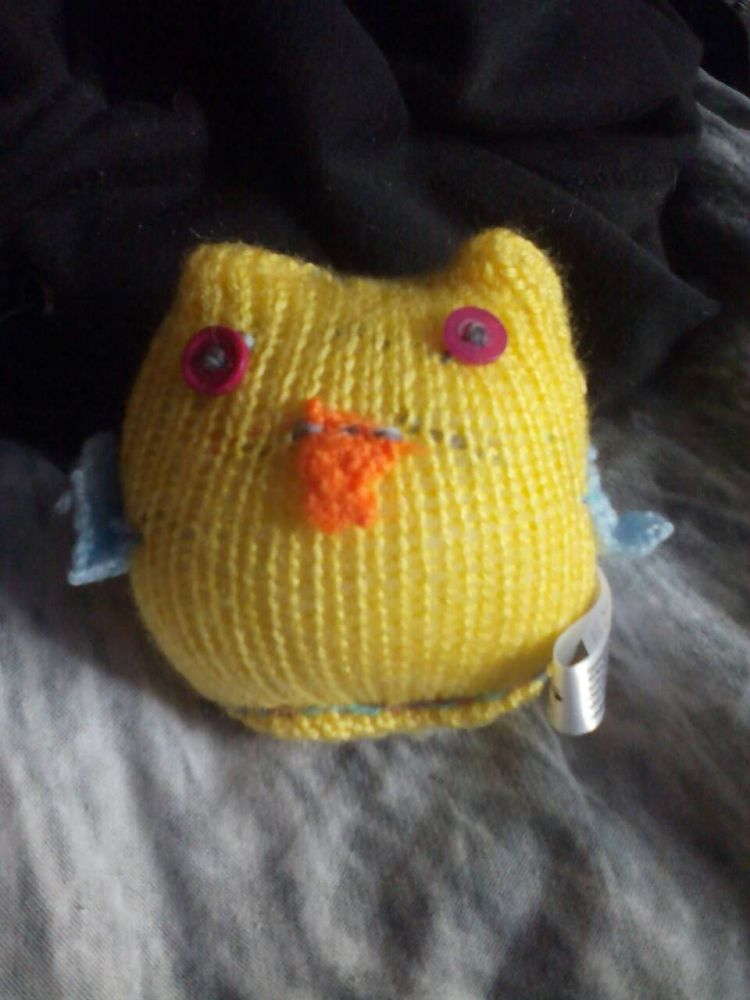 Yellow Body Blue Wings with Hot Pink Eyes Mini Owl