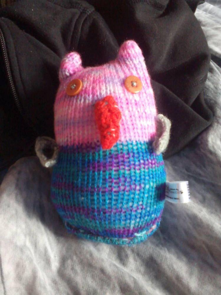 Blue Rainbow Pink Rainbow Body Grey Wings with Orange Eyes Midi Owl