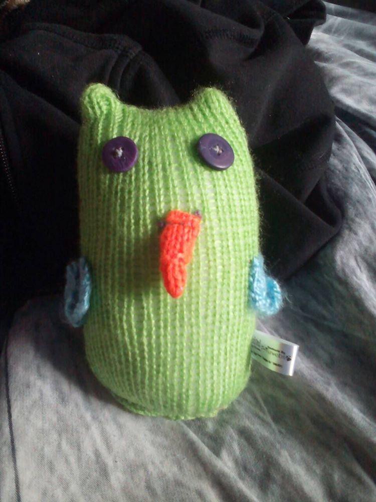 Green Body Blue Wings with Purple Eyes Midi Owl