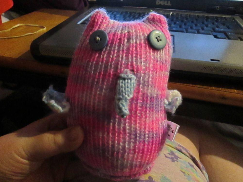 Pink Purple Rainbow Body Blue Wings with Dark Blue Eyes Midi Owl