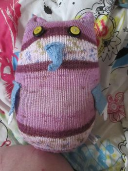 Purple & White Floral Giant Owl