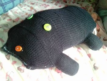 Black Giant Scuttlerat with Green Eyes Orange Nose & Peach Tail Knitted Soft Toy