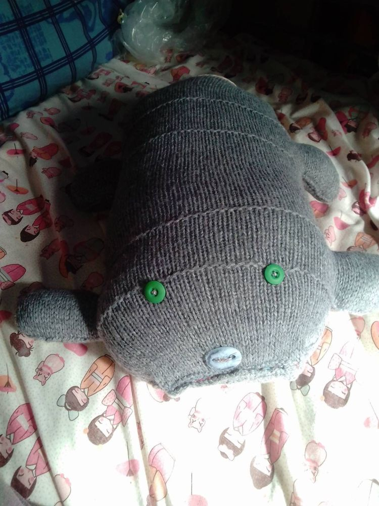 Grey Giant Scuttlerat with Green Eyes Blue Nose & Peach Tail Knitted Soft Toy