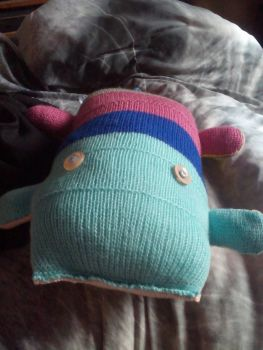 Dual tone blues, pink, grey, green, orange, red, yellow, brown, peach Giant Scuttlecat Knitted Soft Toy